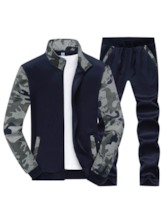 Camouflage Patchwork Slim Men's Long Sports Suit