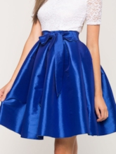 Plain Pleated Lace-Up Knee-Length Women's Skirt