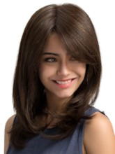 One Side Parting Natural Straight Synthetic Hair Capless Wig