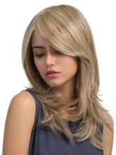 Light Color Long Straight Layered Synthetic Capless Women Wigs