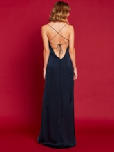 Dark Blue Falbala Cross Back Women's Maxi Dress