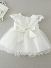 Cap Sleeves Pearls Appliques Baby Girl Christening Dress