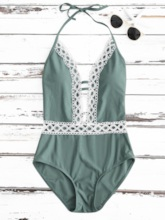Deep V-Neck Lace Backless One Piece Swimsuit