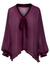 V-Neck Loose Puff Sleeve Women's Blouse