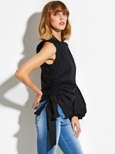 One Shoulder Bishop Sleeve Plain Lace-Up Women's Blouse