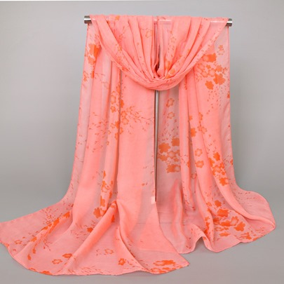 Chiffon Floral Printed Colorful Scarfs