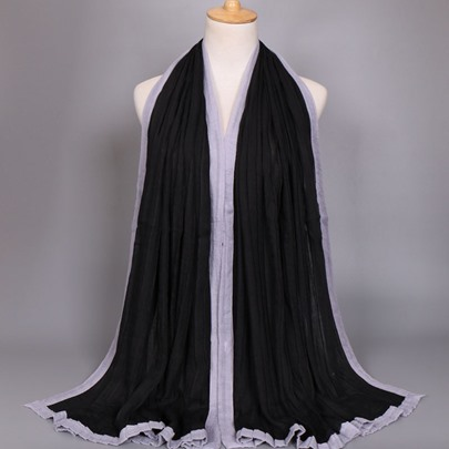 Cotton Pleated Color Block Scarfs