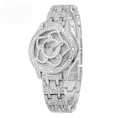 Hollow Flower Shaped Diamante Watches