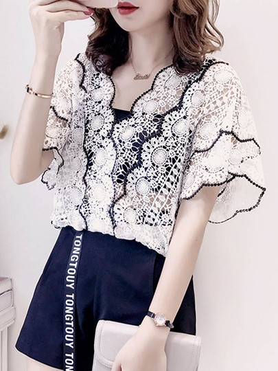 V-Neck Scallop Lace Women's Blouse