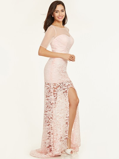 Scoop Neck Short Sleeves Lace Sheath Evening Dress
