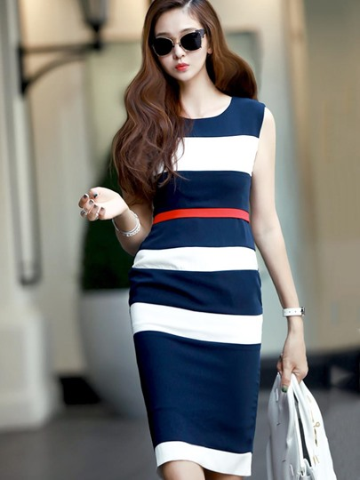 Navy Stripes Women's Sheath Dress