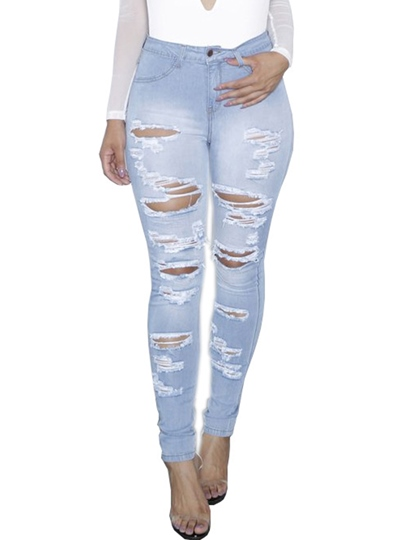High-Waist Hole Skinny Washable Patchwork Women's Jeans