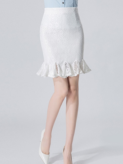 High Waist Falbala Lace Hollow Plain Women's Skirt