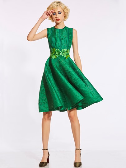 Embroidery Green Women's Day Dress