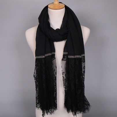 Cotton Lace Plain Thin Scarfs