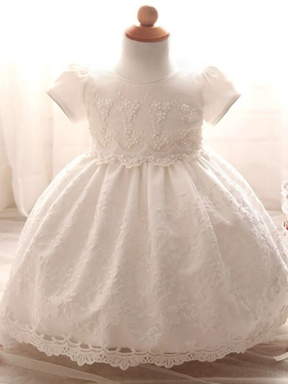 Round Neck Short Sleeves Lace Christening Gown