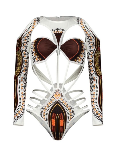 Dashiki Swimwear Hollow-Up Ethnic Women's Monokini