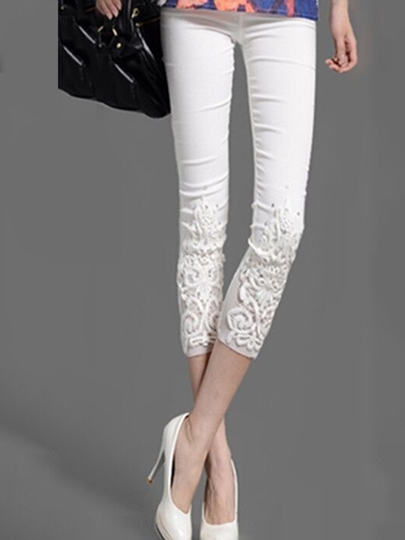 Plain Lace Slim Patchwork Women's Leggings