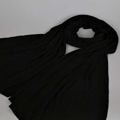 Moslem Chiffon Pleated Plain Scarfs