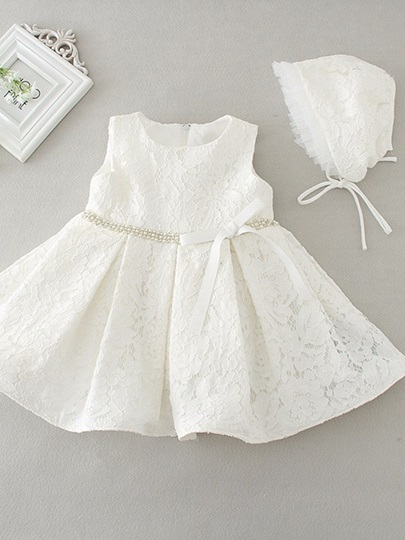 Scoop Neck Beaded Lace Christening Gown