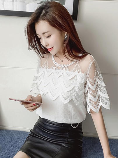 Shawl Neck Wave Cut Plain Women's Blouse