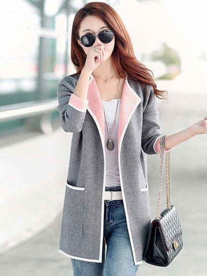 Plain Long Loose Women's Cardigan