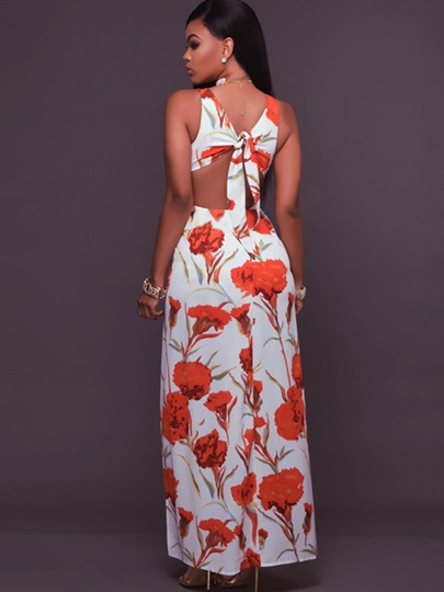 White Backless Vacation Flowers Women's Maxi Dress
