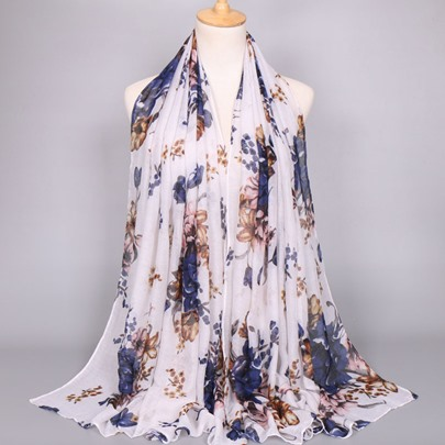 Big Flowers Printed Voile Scarfs