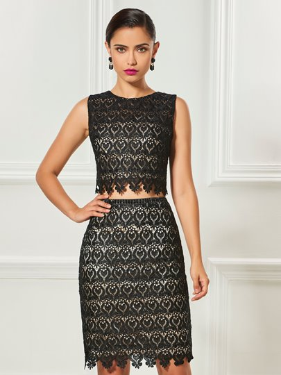 Two Pieces Scoop Sheath Lace Knee-Length Cocktail Dress