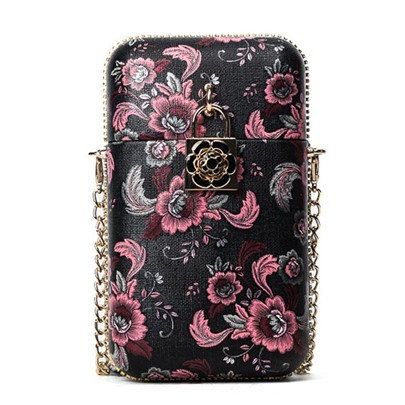 Vintage Floral Printing Chain Cross Body Bag