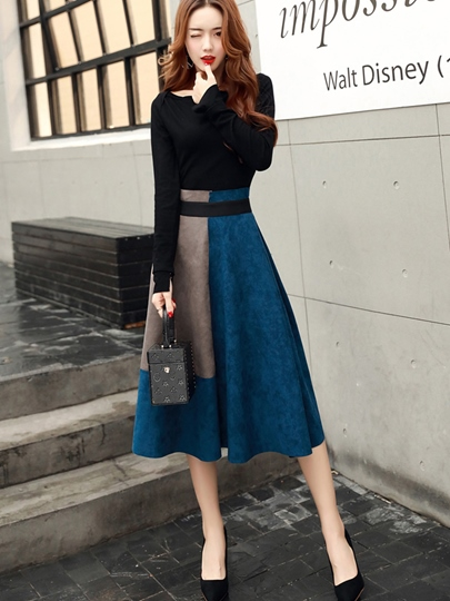 Mid-Calf Slash Neck Expansion Women's Skirt Suit
