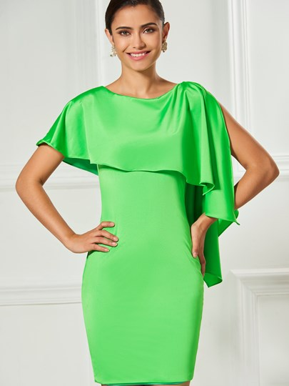 Scoop Sheath Short Sleeves Ruffles Cocktail Dress