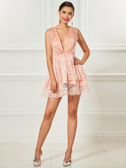 Deep V-Neck A-Line Lace Mini Cocktail Dress