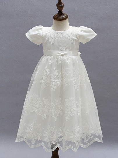 Jewel Neck Short Sleeves Lace Christening Gown