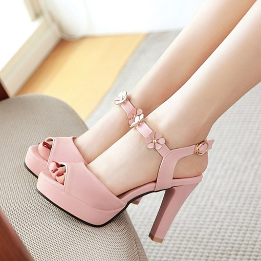 Peep Toe Chunky Heel Appliques Platform Rivet Ankle Strap Women's Shoes