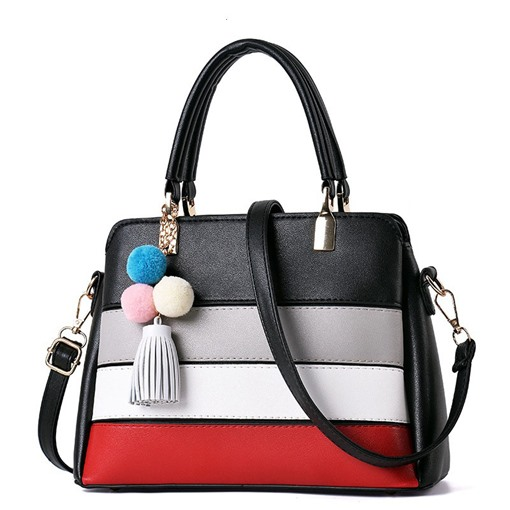 Vogue Color Block Tassel Pendant Tote Bag