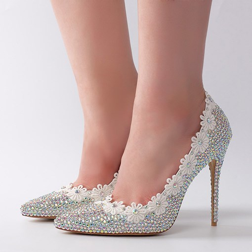 SequinsFlower Stiletto Heel Women's Weeding Shoes