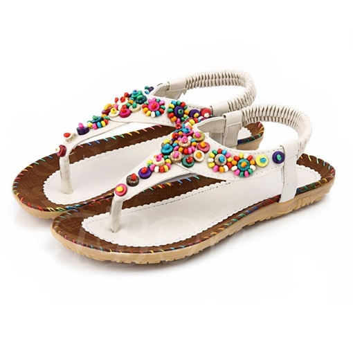Colored Beads Thong Women's Flat Sandals