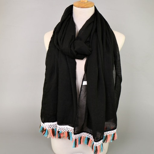 Cotton Tassel Simple Hollow Scarfs