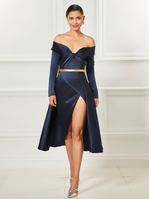 Off-the-Shoulder Long Sleeves A-Line Split-Front Sashes Cocktail Dress