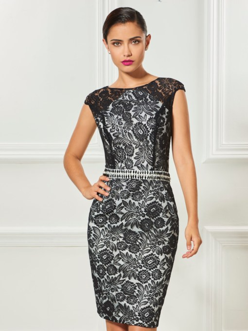Sheath Bateau Lace Sashes Cocktail Dress