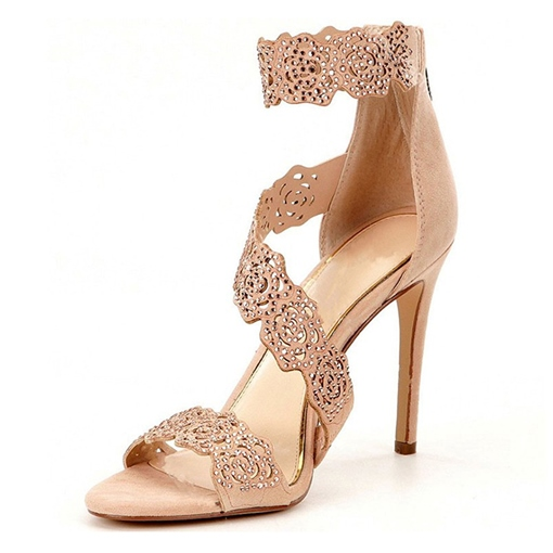 Hollow Rhinestone Zipper Banquet Open Toe Women's Prom Shoes