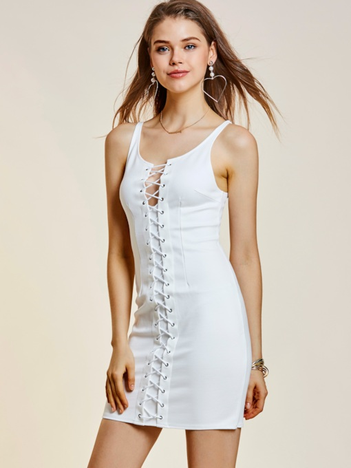 V-Neck Plain Lace-Up Women's Bodycon Dress