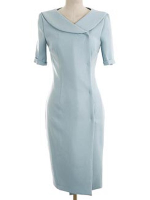 Plain Wide-Lapel Women's Sheath Dress