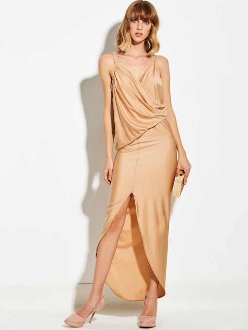 Apricot Strappy Ruffle Women's Maxi Dress