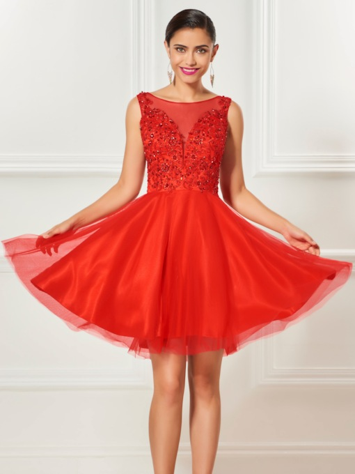 A-Line Bateau Appliques Beading Draped Knee-Length Cocktail Dress