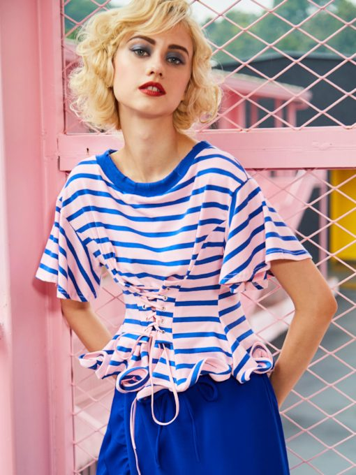 Round Neck Color Block Stripe Women's T-Shirt