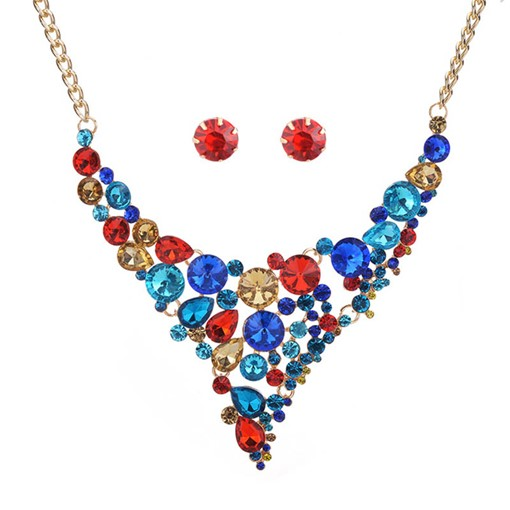 Colorful Geometric Rhinestone Inlaid Jewelry Sets