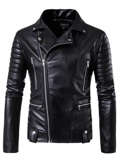 Punk Style Lapel Zipper Slim Men's Jacket