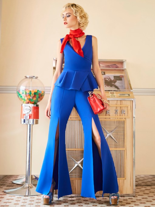 Slim Plain Full Length Women's Jumpsuit